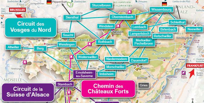 Carte Touristique Alsace Du Nord.Circuit Des Vosges Du Nord Cdte 67 68 Comite