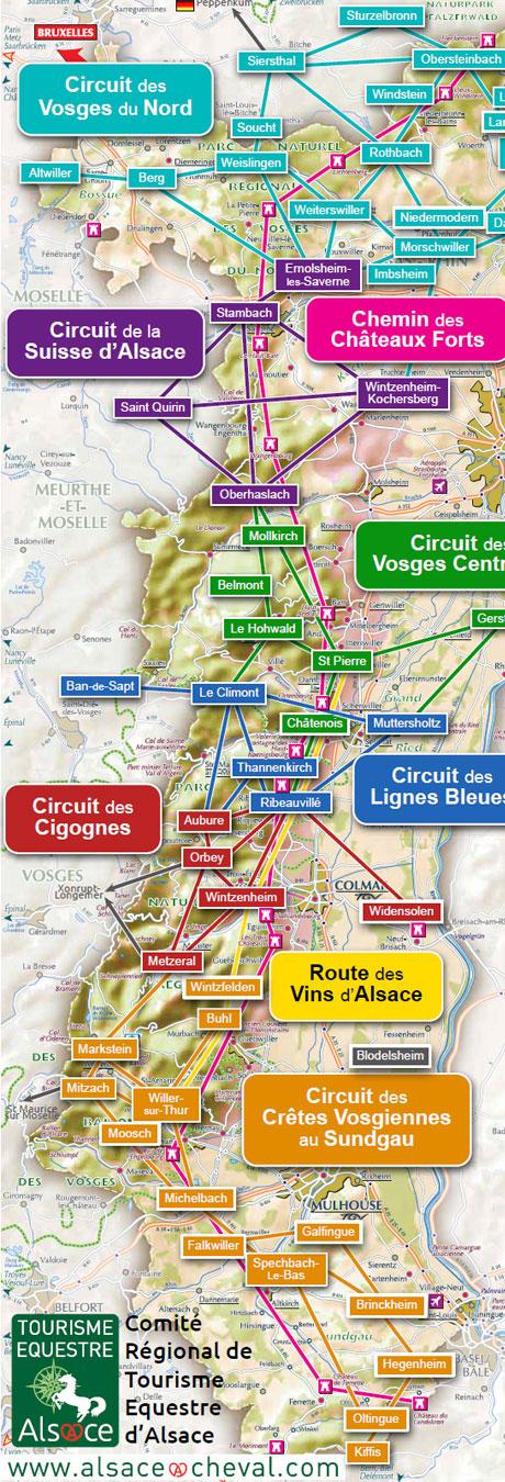 Carte Dalsace Touristique.Chemin Des Chateaux Forts D Alsace Cdte 67 68 Comite