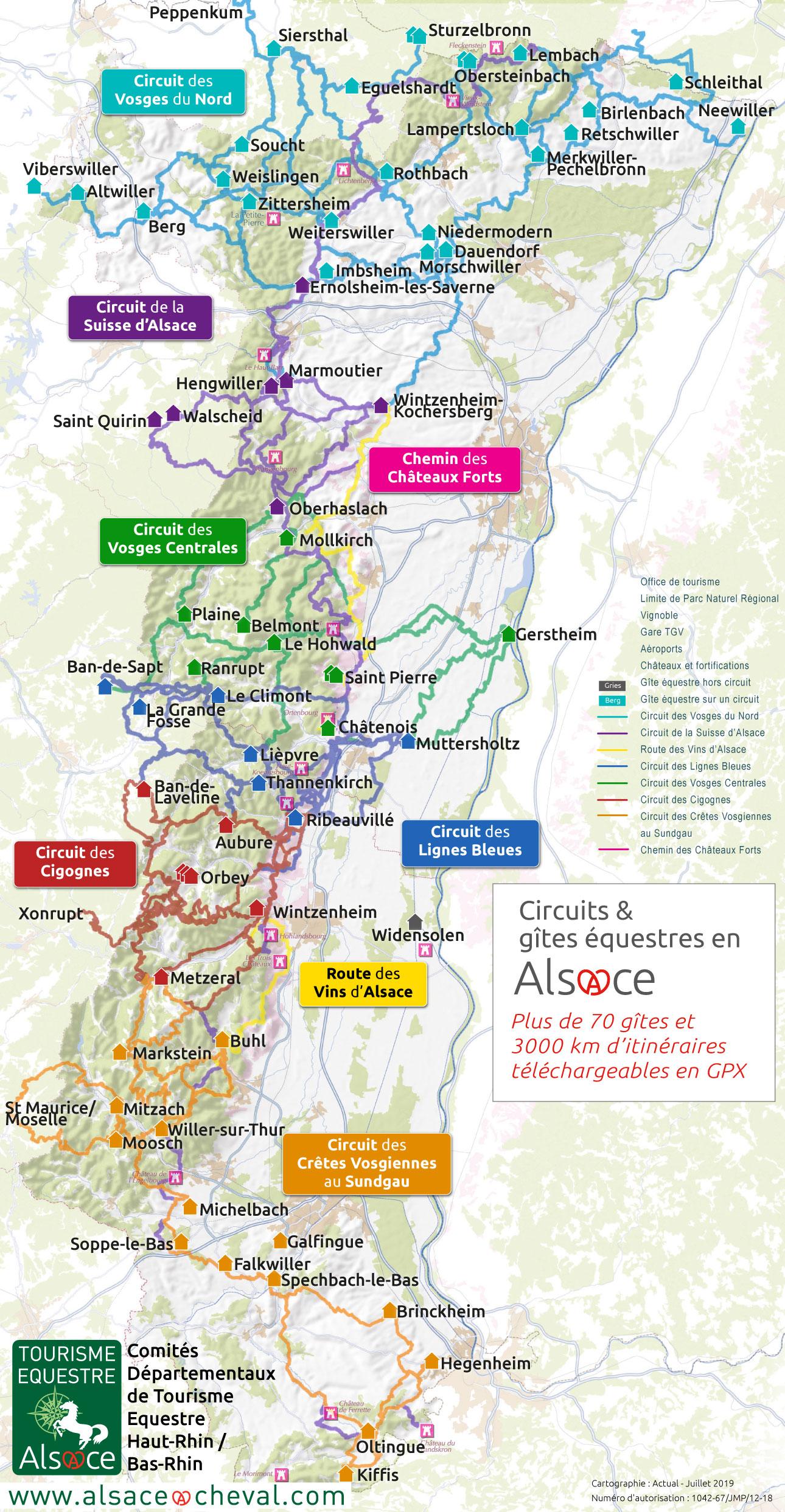 carte des itinéraires et gîtes équestres d'Alsace