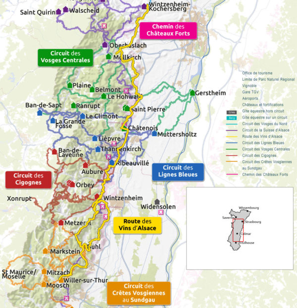 Carte de l'itinéraire de la route équestre des vins d'Alsace