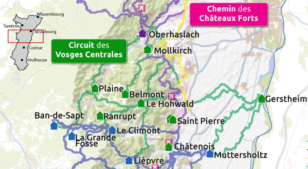 Carte du circuit équestre des Vosges Centrales